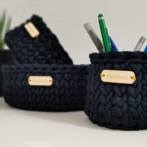 koszyczek granatowy handmade